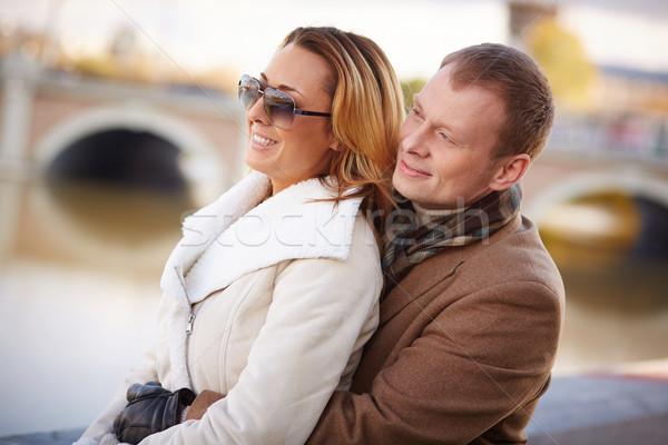 Spokój spokojny para ciepły ubrania wypoczynku Zdjęcia stock © pressmaster