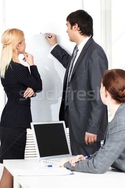 Odprawa człowiek biznesu rysunek plan kolega Zdjęcia stock © pressmaster