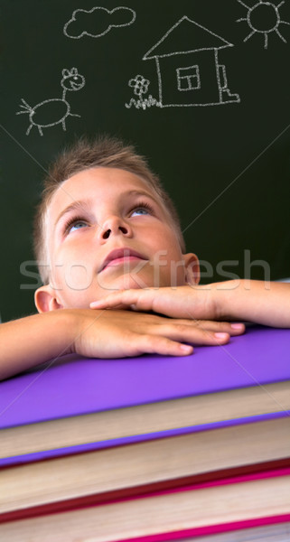 Stock photo: Pupil in library