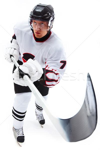 Stockfoto: Hockey · afbeelding · speler · stick · permanente