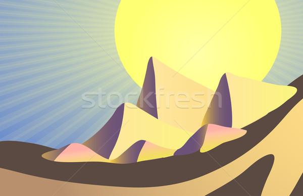 египетский пирамидами солнце небе свет дизайна Сток-фото © pressmaster