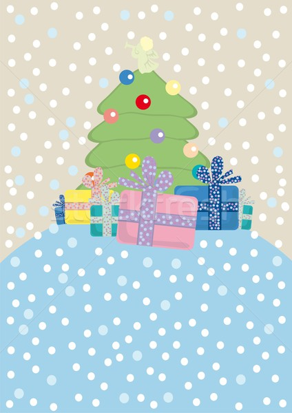 Noel ağacı melek sunmak dizayn kış top Stok fotoğraf © pressmaster