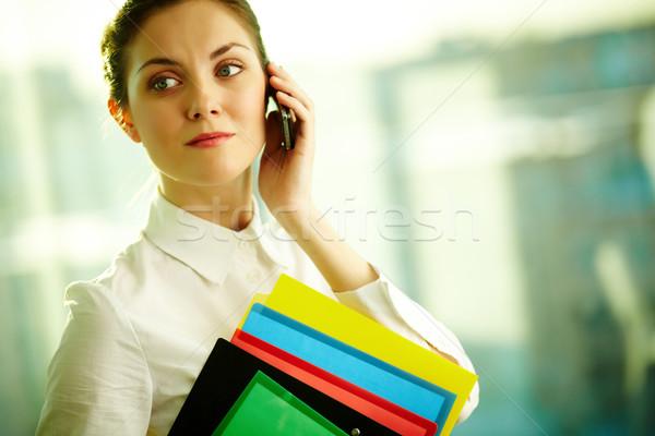 Foto stock: Mulher · chamada · belo · empresária · falante · celular