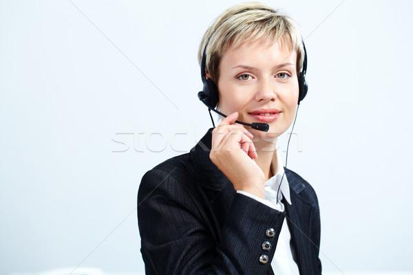 Obsługa klienta przedstawiciel portret pracy telefon słuchawki Zdjęcia stock © pressmaster