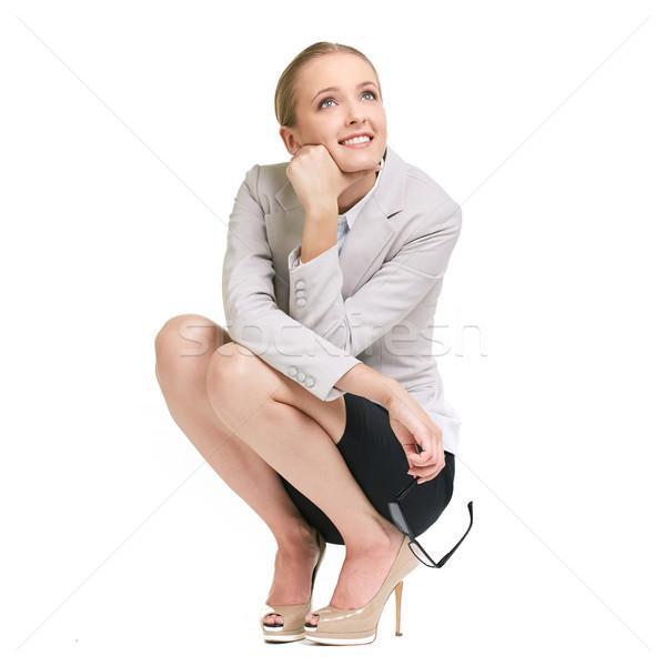 Agradável pensamentos retrato jovem empresária mulher Foto stock © pressmaster