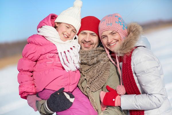 Familie drei glücklich Eltern Tochter schauen Stock foto © pressmaster