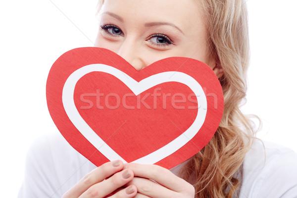 Kız kalp portre genç kadın kâğıt Stok fotoğraf © pressmaster