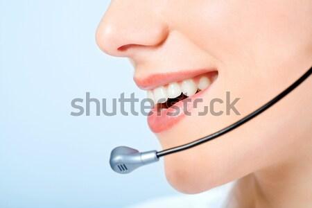 Mund Berater Bild Lächeln isoliert blau Stock foto © pressmaster