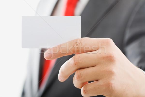 Kártya kép férfi ujjak tart névjegy Stock fotó © pressmaster