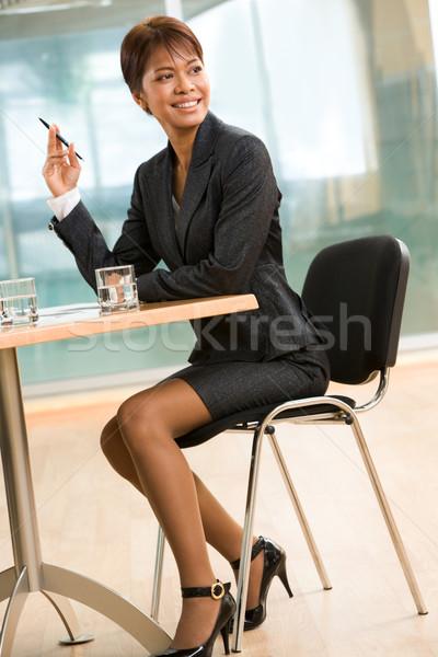 Mutlu işveren iş lider oturma işyeri Stok fotoğraf © pressmaster