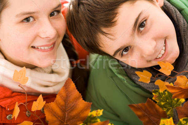 Feliz hermano hermana hermanos hojas de otoño mirando Foto stock © pressmaster
