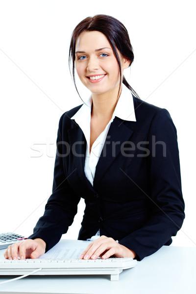 Stock fotó: Boldog · titkárnő · kép · fiatal · sikeres · munkáltató