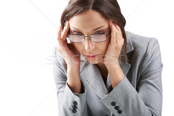 Wyczerpanie portret kobieta interesu okulary działalności wykonawczej Zdjęcia stock © pressmaster