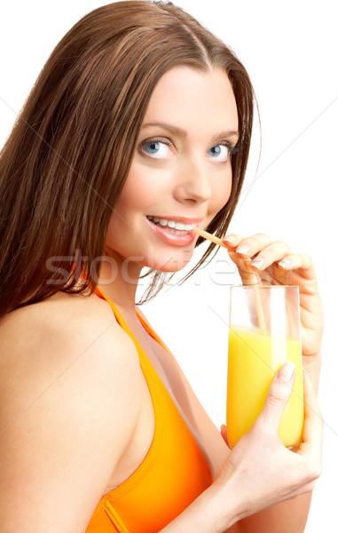 Stok fotoğraf: Fotoğraf · güzel · kız · içme · portakal · suyu · güzellik