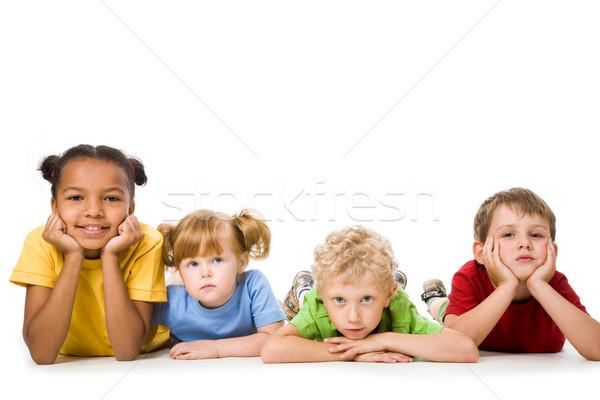 Stok fotoğraf: çocuklar · portre · dört · çocuk · dinlenmek · erkek