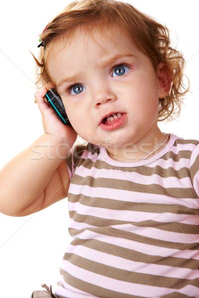 Gyermek hív portré aranyos kisgyerek beszél Stock fotó © pressmaster