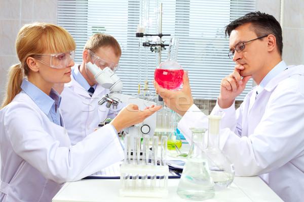 Foto stock: Trabalho · em · equipe · mulher · médico · medicina · lab · químico