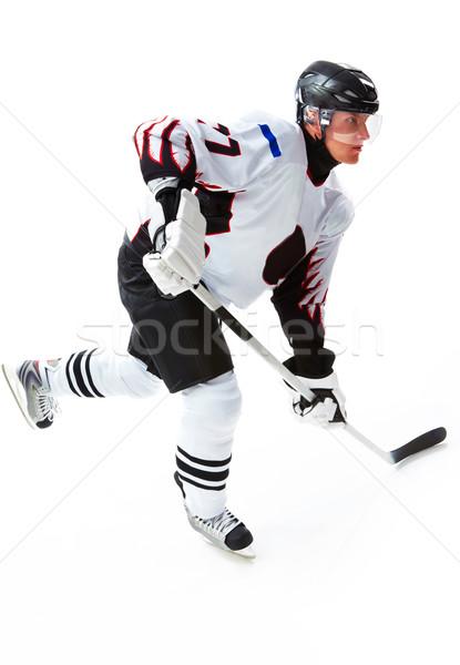 Energetico giocatore ritratto giocare hockey ghiaccio Foto d'archivio © pressmaster
