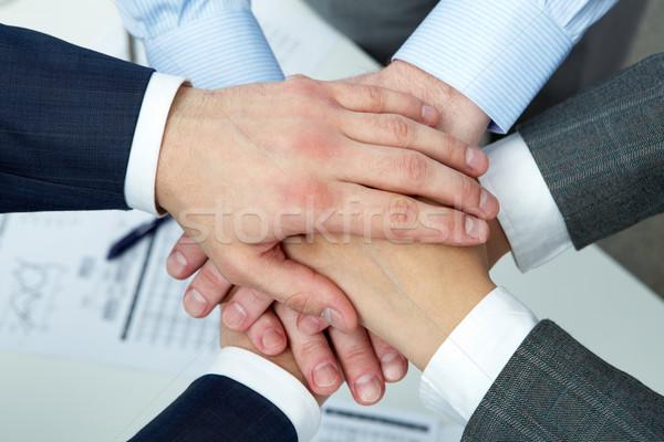 поддержки рук четыре Top бизнеса Сток-фото © pressmaster