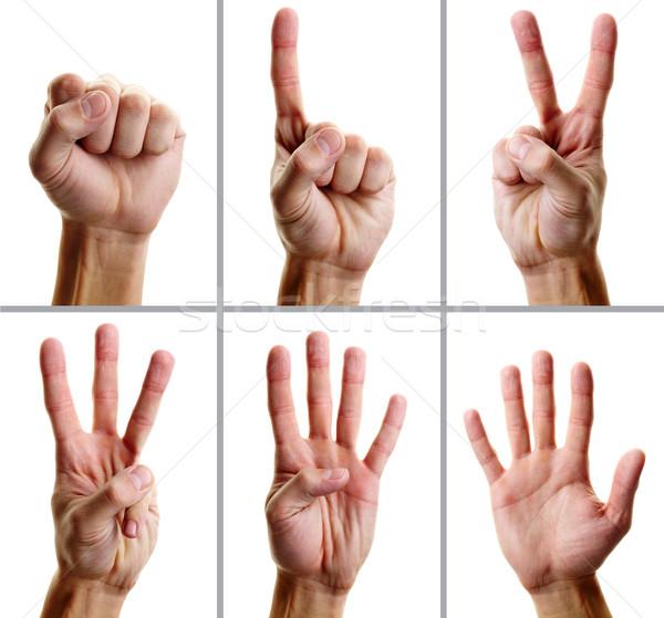 Gesztusok kollázs férfi kéz mutat különböző Stock fotó © pressmaster