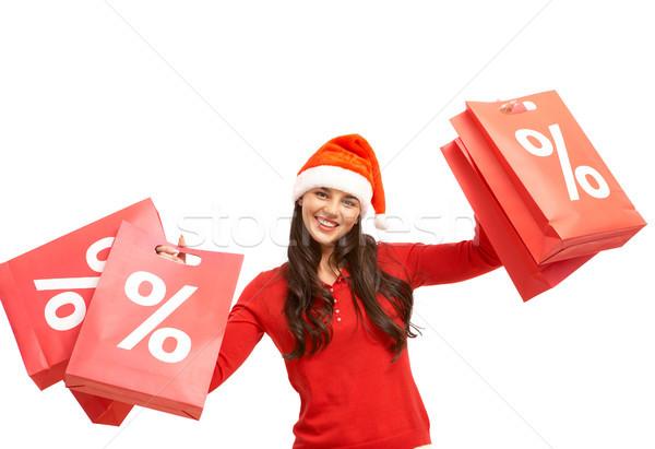 Stok fotoğraf: Noel · teklif · mutlu · kız · kapak · kırmızı