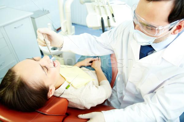 経口 笑顔の女性 座って 歯科 女性 男 ストックフォト © pressmaster