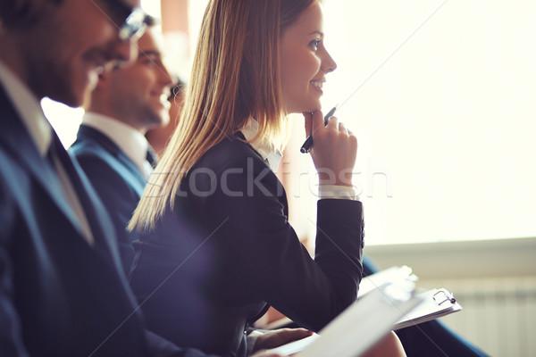 Stockfoto: College · rij · zakenlieden · merkt · seminar