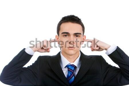 Verärgert Mann Porträt smart Ohren Stock foto © pressmaster