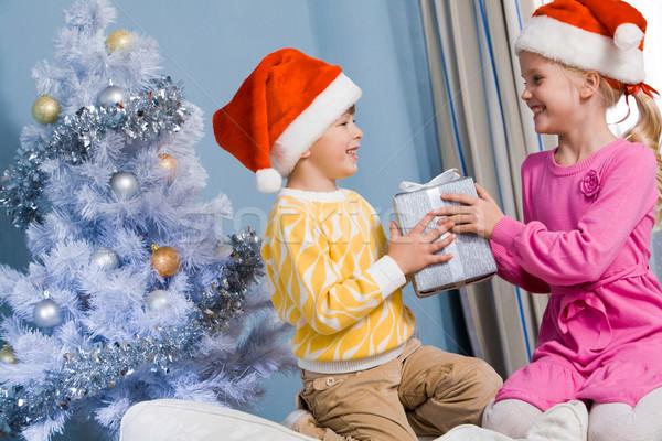 Stok fotoğraf: Noel · sürpriz · portre · mutlu · kardeşler