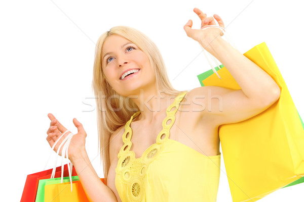 ストックフォト: ショッピング · ブロンド · 肖像 · ショッピングバッグ · 女性