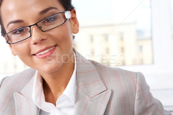 Foto stock: Femenino · cara · mujer · bonita · mirando · cámara