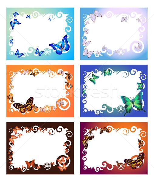 Altı kareler toplama renkli kelebekler bahar Stok fotoğraf © pressmaster