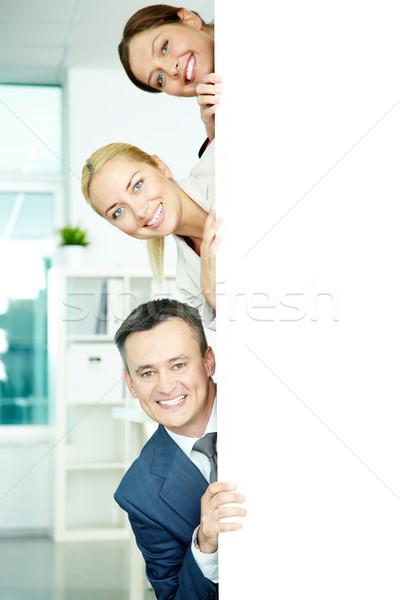 Foto stock: Feliz · retrato · fuera · negocios