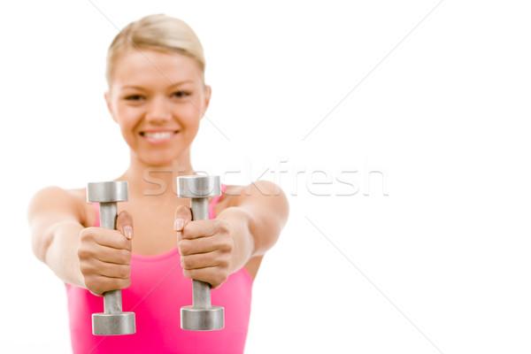 ストックフォト: 手 · 写真 · 2 · 金属 · アクティブ · 女性