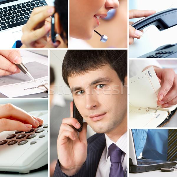Zakenlieden objecten collage telecommunicatie ander kantoor Stockfoto © pressmaster
