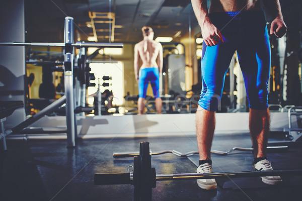 Sportok képzés kép topless férfi áll Stock fotó © pressmaster