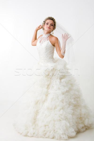 Verloofde gelukkig mooie witte mode jurk Stockfoto © pressmaster