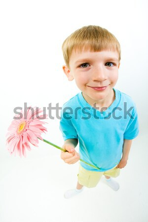 Photo stock: Rechercher · photo · souriant · cute · garçon · mains