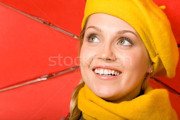 Boldog női nő kabát svájcisapka piros Stock fotó © pressmaster