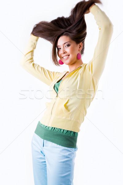Stok fotoğraf: Komik · kadın · saç · beyaz · gülümseme