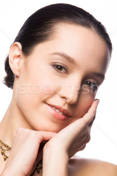 Güzel bayan yüz dokunmak moda portre Stok fotoğraf © pressmaster