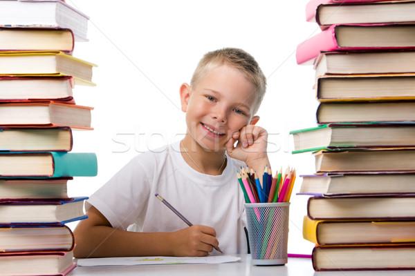 Positief jongen portret cute jongeling vergadering Stockfoto © pressmaster