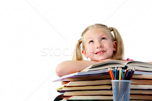 Zdjęcia stock: Uczennica · portret · cute · broni · otwarta · księga · patrząc