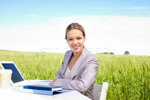 Zdjęcia stock: Dość · pracownika · obraz · udany · kobieta · interesu · posiedzenia