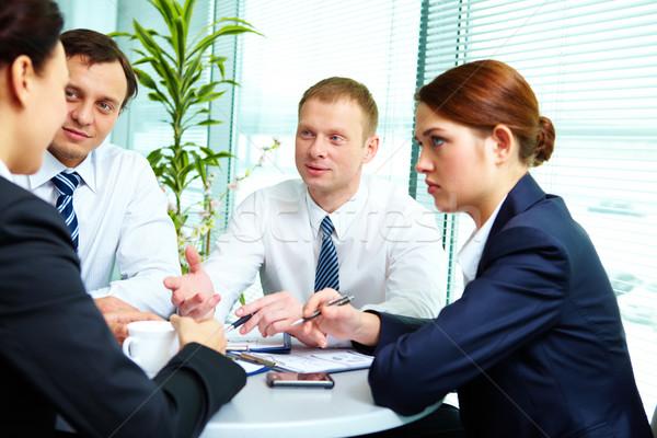 Stockfoto: Partners · afbeelding · collega's · communiceren · kantoor · business