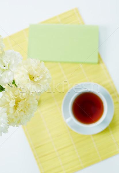 Tee über Winkel weiß Tasse Serviette Stock foto © pressmaster
