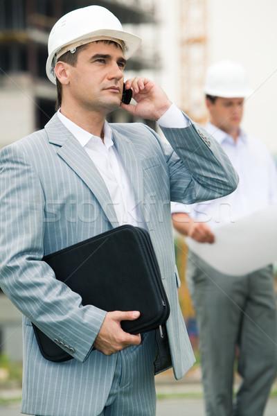 Foto d'archivio: Business · chiamata · ritratto · occupato · ingegnere · chiamando