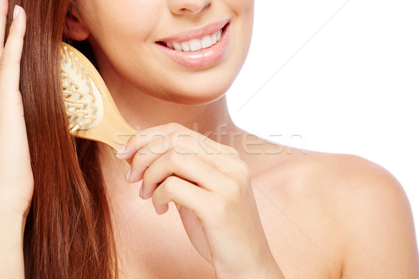 Cuidados com os cabelos mulher jovem cabelos longos feliz feminino Foto stock © pressmaster