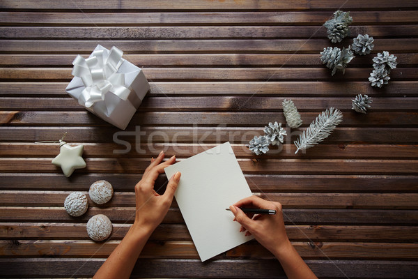 Writing Christmas regards Stock photo © pressmaster