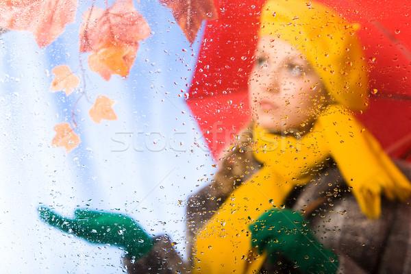 Eső kép esőcseppek ablak női esernyő Stock fotó © pressmaster